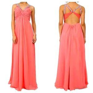 NWT Faviana Pink Sorbet Embellished Formal Dress